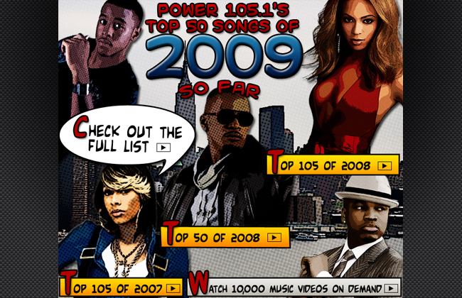 Pop art promotional image for Tops Songs of 2009