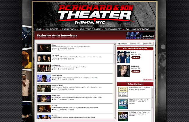 Built contests and edited multi camera interviews - pcrichardtheater.com