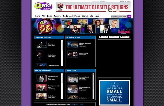 Designed event and contest pages - q102.com