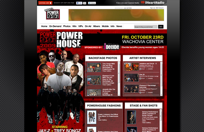 Designed event and contest pages - power99.com