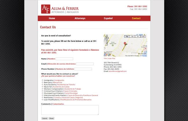 Built website for New Jersey Law Firm - alumandferrer.com