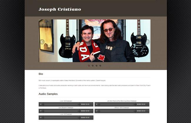 Built online porfolio of radio producer Joseph Cristinano - josephcristianoradio.com