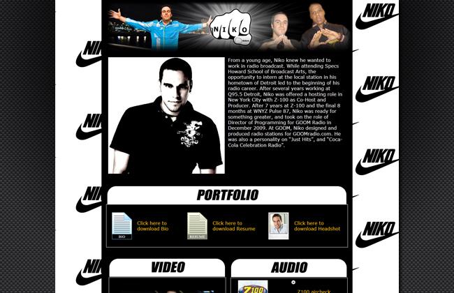 Built online porfolio of radio personality Niko - nikonyc.com